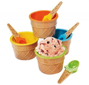 Colorful Ice Cream Bowls with Spoons - Avon