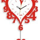 35.5*55cm Rocking Heart-shaped Wall Clock Home Decoration