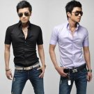 New Mens short-sleeve shirt Slim Korean features collar shirt (purple black White)