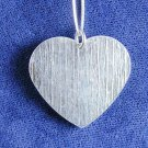 Textured Heart & Lg Link Necklace Solid Sterling Silver