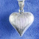 Puffed Heart & Bead Necklace Solid Sterling Silver