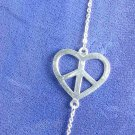 Love & Peace 36&quot; Necklace Solid Silver Heart & Peace Sign