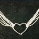 Multi Strand Solid Sterling Silver Heart Necklace N1122