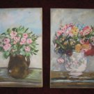 2 COUNTRY FLORAL CANVAS PRINTS / PAINTING SET 16x10