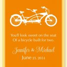 "Personalized Bicycle Built for Two print with names and wedding date 11""x14"""