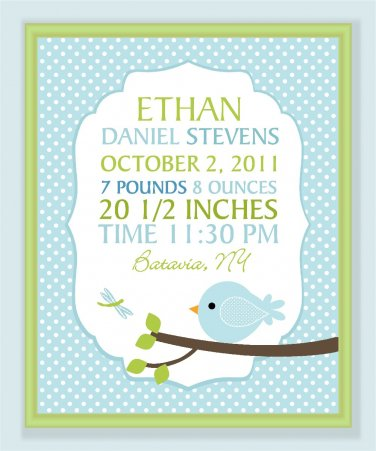 Customized Baby Boy Birth record print