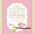 Customized Baby Girl Birth record print