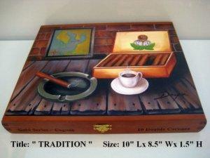 Old  Cigar Box w/Beautiful Oil paintings on top. Cuban Art 100 % Handmade.