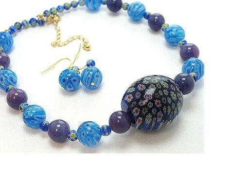 N/E SET / ITALIAN GLASS BEAD / FLOWER