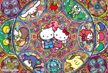 B-31-396 Hello Kitty stained glass musical (Japan Beverly Sanrio Jigsaw Puzzle)