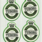 TUBORG GREEN BEER FOUR ADVERTISING BEER MATS COASTERS COPENHAGEN DENMARK