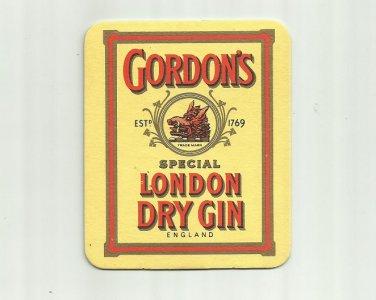GORDONS SPECIAL LONDON DRY GIN ADVERTISING MAT COASTER LONDON ENGLAND