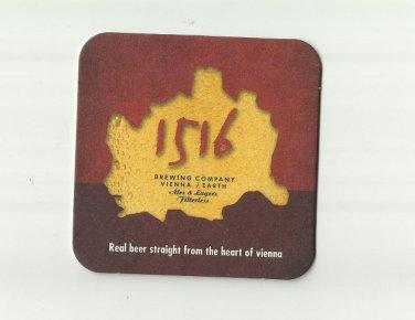 1516 BREWING COMPANY VIENNA BEER AUSTRIAN ADVERTISING BEER MAT COASTER