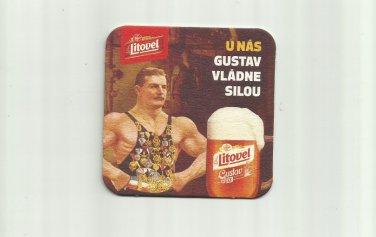 LITOVEL CZECH BEER U NAS GUSTAV VLADNE SILOU ADVERTISING BEER MAT COASTER