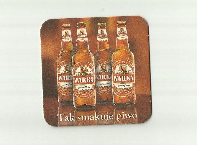 WARKA 1478 FOUR BOTTLES POLISH ADVERTISING BEER MAT COASTER