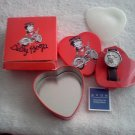 New BETTY BOOP Biker Gal Wristwatch Red Heart Tin Leather Wristband by Avon