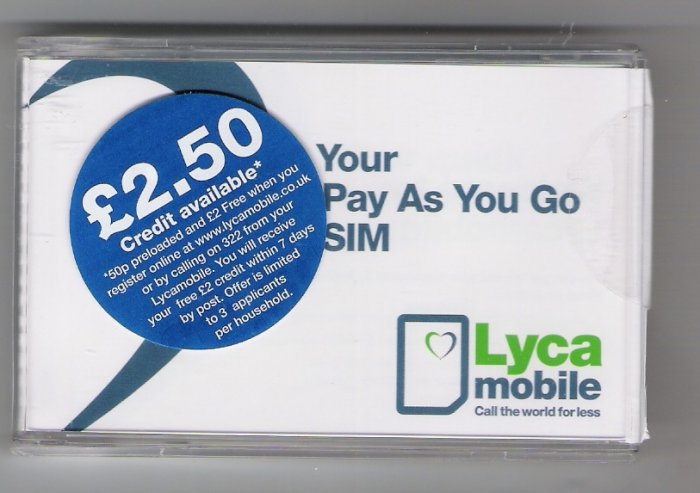 Lycamobile UK prepaid gsm sim card pack with 50p credit  and  free incoming calls and texts