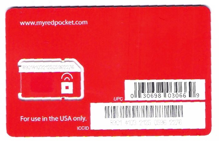 Red pocket Mobile US sim card with $20 credit