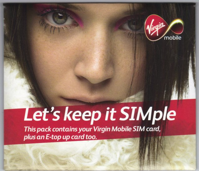 VIRGIN MOBILE UK PAY AS YOU TALK GSM SIM CARD WITH £20 CREDIT