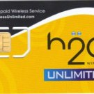 H2O unlimited gsm sim card starter kit with $50 refill pin