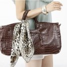 Women Crocodile Print Leather Tote Shoulder Bag Ladies Purse Handbag With Scarf Coffee