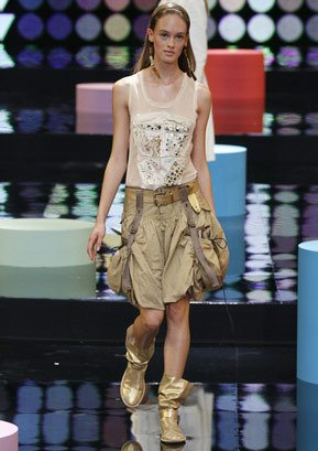 Sale! Marithe+Francois Girbaud Summer cotton skirt khaki