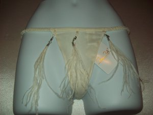 Tail Feathers Thin Back Thong Small Ivory