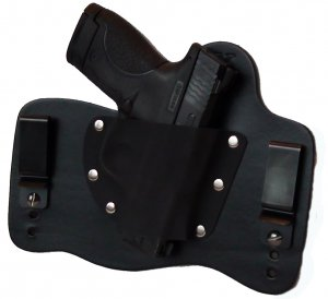 FoxX Leather & Kydex IWB Holster Smith & Wesson M&P Shield 9mm & 40 Black RH
