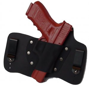 FoxX Leather & Kydex IWB Holster Glock 17,22 & 31 Hybrid Holster RH Black