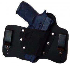 FoxX Leather & Kydex IWB Hybrid Holster Sig Sauer P250c 9mm, .40 & .45 RH Black