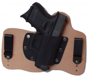 FoxX Leather & Kydex IWB Holster Glock 26,27 and 33 Hybrid Holster RH Natural
