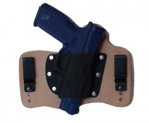 FoxX Leather & Kydex IWB Hybrid Holster Springfield XDM 3.8 9mm & 40 cal Natural Right