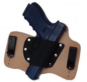 FoxX Leather & Kydex IWB Holster Glock 20, 21, 29 & 30 Hybrid Holster RH Natural