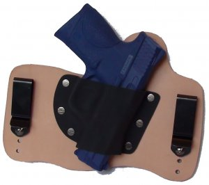 FoxX Leather & Kydex IWB Hybrid Holster S&W M&P Compact 9mm,40 and 45 cal Natural