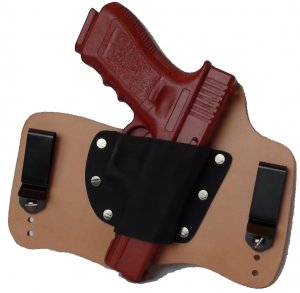 FoxX Leather & Kydex IWB Holster Glock 17,22 & 31 Hybrid Holster RH Natural/Tan