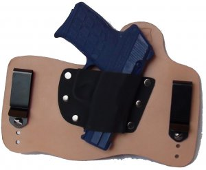 FoxX Leather & Kydex IWB Holster Kel Tec PF9 Hybrid RH Natural Tan