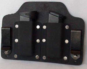 FoxX Leather & Kydex IWB  Double Magazine Holster Carrier Ruger SR9c SR40c