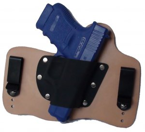 FoxX Leather & Kydex IWB Holster Glock 36 Hybrid Holster RH Natural/Tan .45 cal