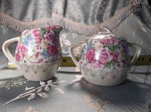 Nippon lusterware porcelain antique vintage creamer and sugar bowl