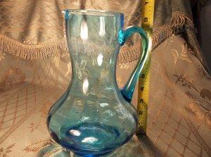 Blue glass pitcher depression antique vintage