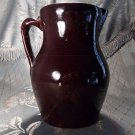 Primitive brown pottery glazed antique vintage pitcher