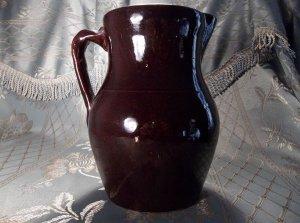 Primitive brown pottery glazed antique vintage pitcher