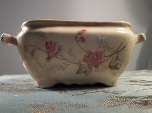 Vintage antique hand painted pottery ceramic planter