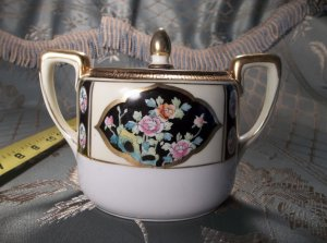 Vintage antique hand painted porcelain Nippon sugar bowl