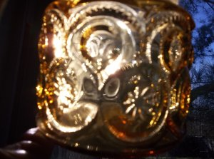 Vintage depression glass gold jar