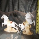 Vintage pair of porcelain white horses made by by Aldon