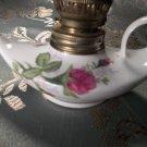 Vintage antiques porcelain genie bottle miniature oil lamp