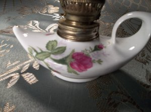 Vintage antiques porcelain genie bottle miniature oil lamp