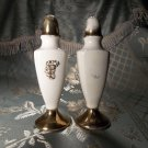 Antique vintage porcelain white and gold salt and pepper shakers