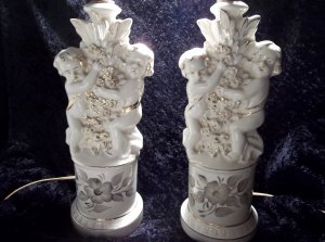 set of vintage antique ceramic white and gold hand-painted cherub lamps
